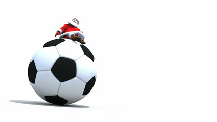Santa sits on top of a giant Football, Seamless loop with Alpha