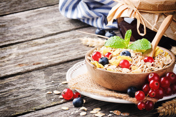 Bowl with cereals and fresh berries