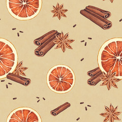 Watercolor seamless pattern. Orange, anise and cinnamon sticks