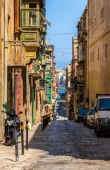 Typical street of Valletta in the republic of Malta