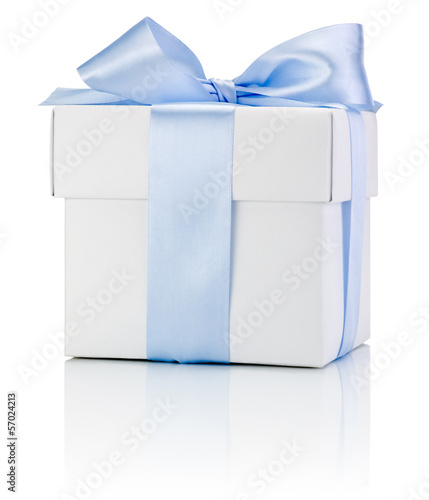 One White boxs tied Blue satin ribbon bow Isolated on white back