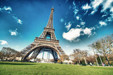 Paris, France. Wonderful view of Tour Eiffel with gardens and co
