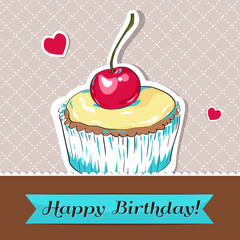 Happy Birthday vector greeting card with cupcake