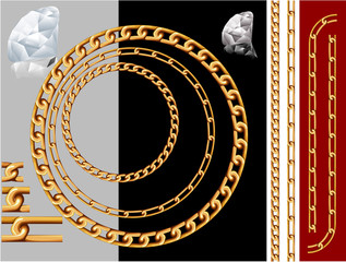 Gold chains and diamonds. Vector contains pattern brushes of