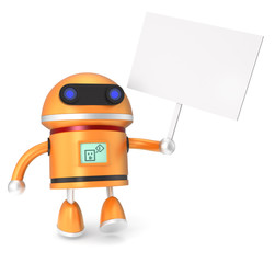 robot hold a blank sign board in hand