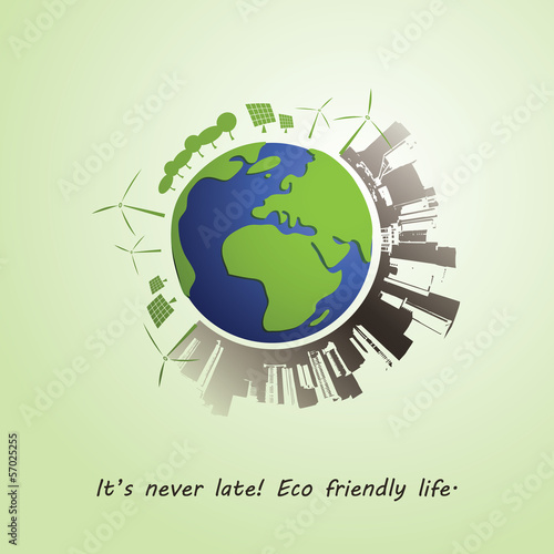 Environmentally Friendly Planet - Vector Illustration
