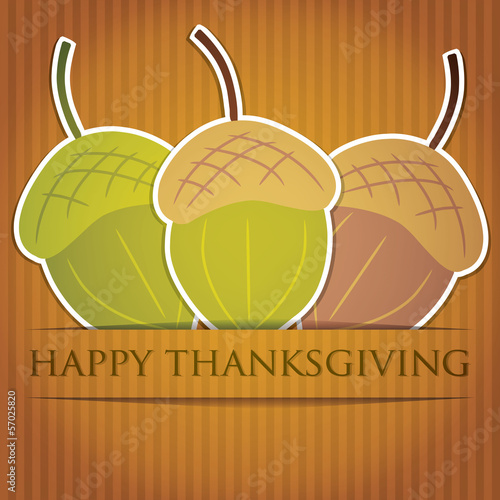 Acorn Thanksgiving card in vector format.