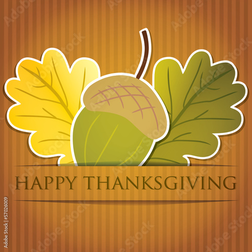 Acorn and leaf Thanksgiving card in vector format.