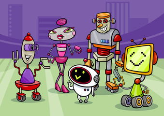 robots group cartoon illustration