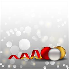 новогодний фон с цветными елочными шарами и лентами