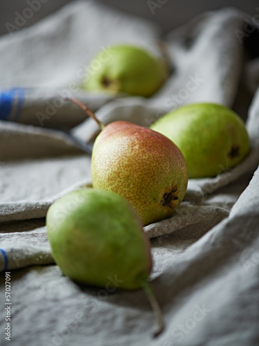 Pears on a linen cloth