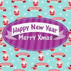 New Year and Christmas greeting card with Santa Claus