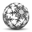 Kugel, Weihnachtskugel, Vorlage, schwarzweiß, Eisblume, Textur