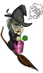 Old Ugly Halloween Witch on the broom with a backet and candy