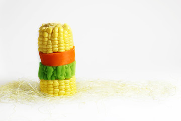 a cob of sweetcorn & mixed vegetables