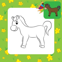 Cartoon horse. Coloring page. Vector illustration.