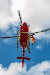 Helicopter hoist in off shore windfarm