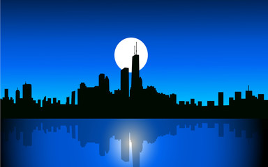 Chicago at Night-Vector