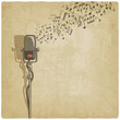 Vintage background with microphone - vector illustration - 57029410
