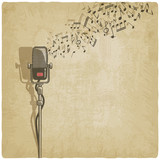 Fototapety Vintage background with microphone - vector illustration