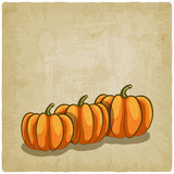 old background with pumpkins - vector illustration