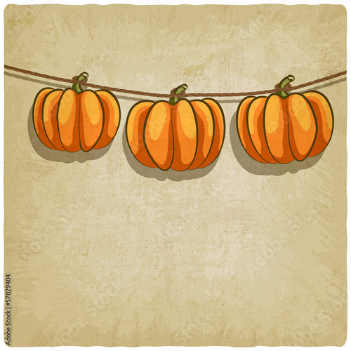 old background with pumpkins on rope - vector illustration