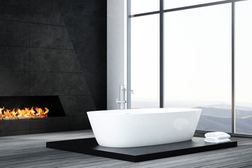 Dark luxury bathroom interior with bathtub and fireplace