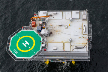 Aerial view of substation in offshore windfarm
