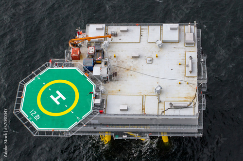 Canvas Helicopter Aerial view of substation in offshore windfarm