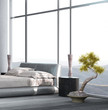 Luxury Bedroom interior with floor to ceiling windows and housep