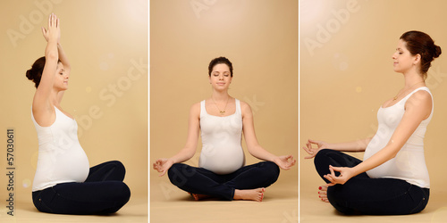 Pregnant woman relax doing yoga, sitting in lotus position