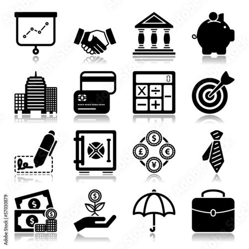 Finance icons with reflection
