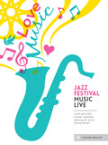 Jazz music festival graphic design background template layout fo poster