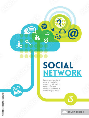 Cloud Social Media Network concept background design layout for