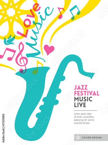 Jazz music festival graphic design background template layout fo