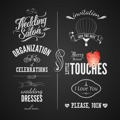 Set of wedding vintage typographic design elements on blackboard