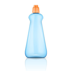 Blue plastic bottle with orange cap.