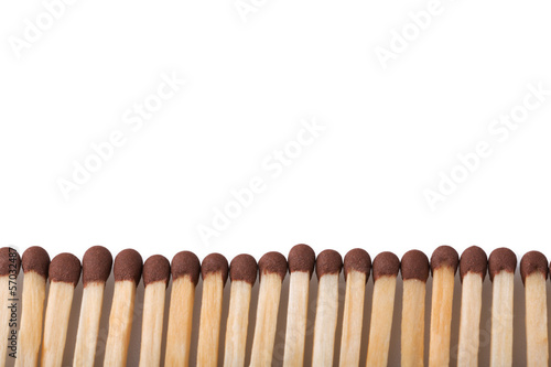 Matches close up isolated on white background