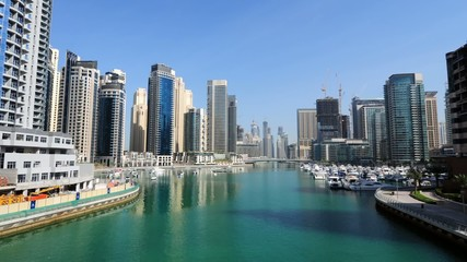 Dubai Marina time lapse video. United Arab Emirates