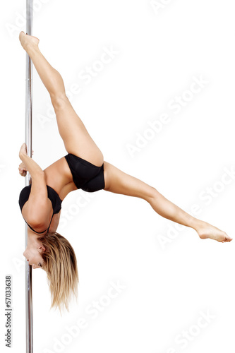 Pole dancer practice
