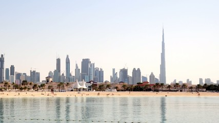 Skyline of Dubai with Jumeirah Beach in foreground