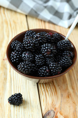 Freshly harvested ripe blackberries