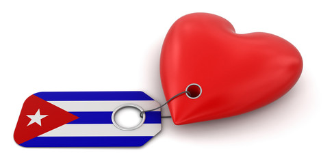 Heart with Cuban flag (clipping path included)