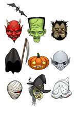 Halloween monster heads