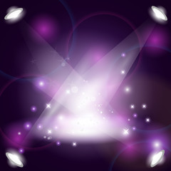 Purple Magic Spotlight Background - Vector Illustration