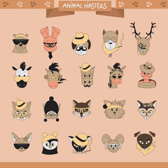 Animals Hipster Set - Isolated On Pink Background