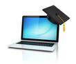 graduation cap on laptop - e-learning 3d concept