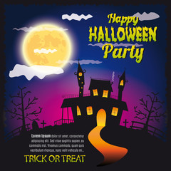 Halloween house party, trick or treat full moon night