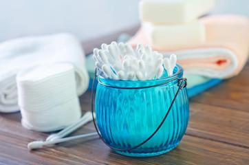 cottonbud, ear-stick and soap