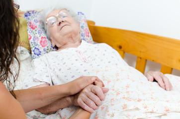 Sick old woman
